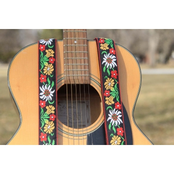 Vintage Swedish Floral Woven Ribbon Guitar Strap