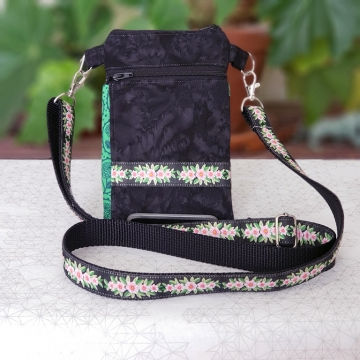 Pink on Black Floral Bag