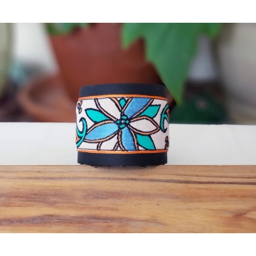Teal and Orange Floral Leather Cuff