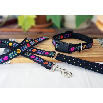 Fluorescent Flower Leash and Collar Set