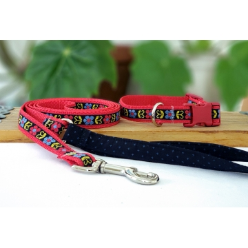 Red and Blue Floral Leash and Collar Set