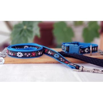 Black and Blue Floral Leash and Collar Set